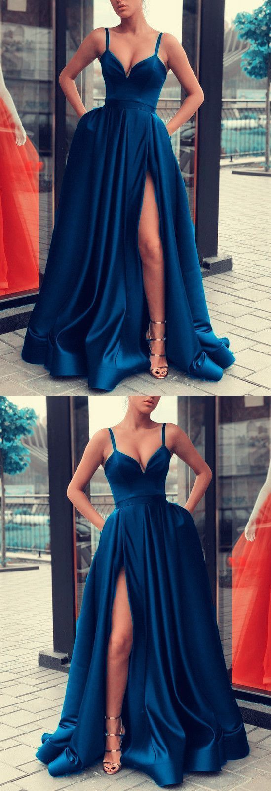 Sexy Spaghetti Straps V-neck Long Satin Evening Gowns Leg Split Prom Dress