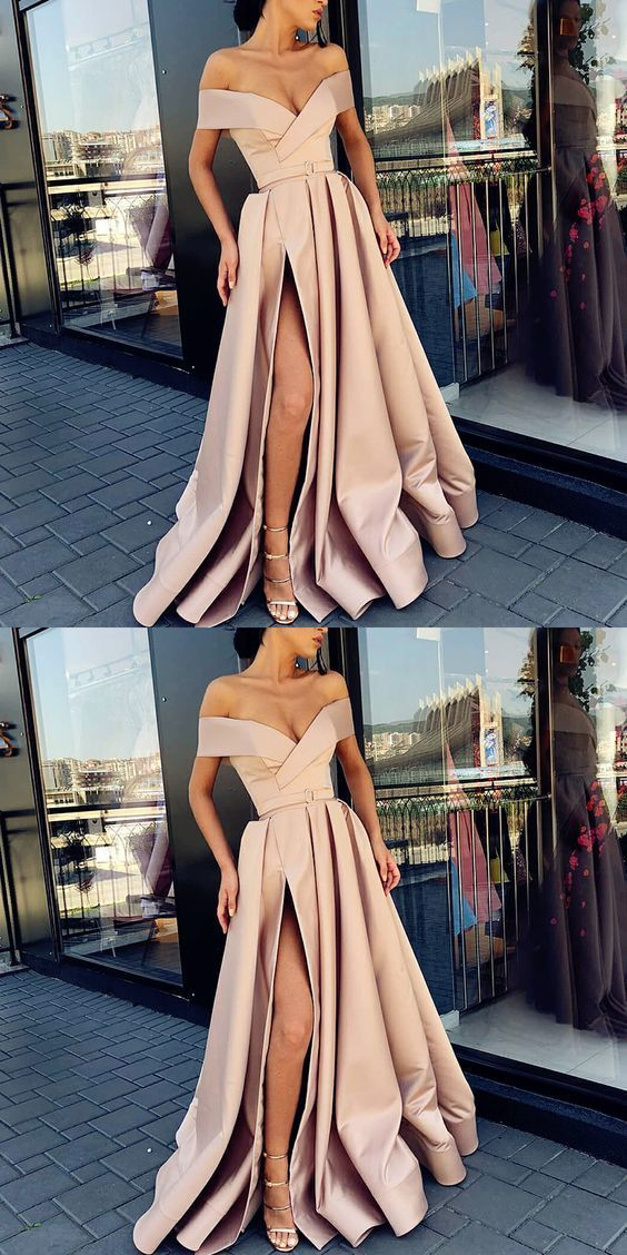 A-Line Off the Shoulder Sweep Train Split Front Champagne Prom Dress with Belt