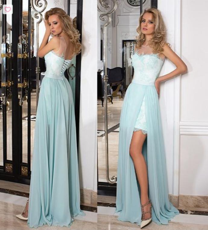 Scoop Lace & Chiffon Prom Dresses Sweep Train Detachable
