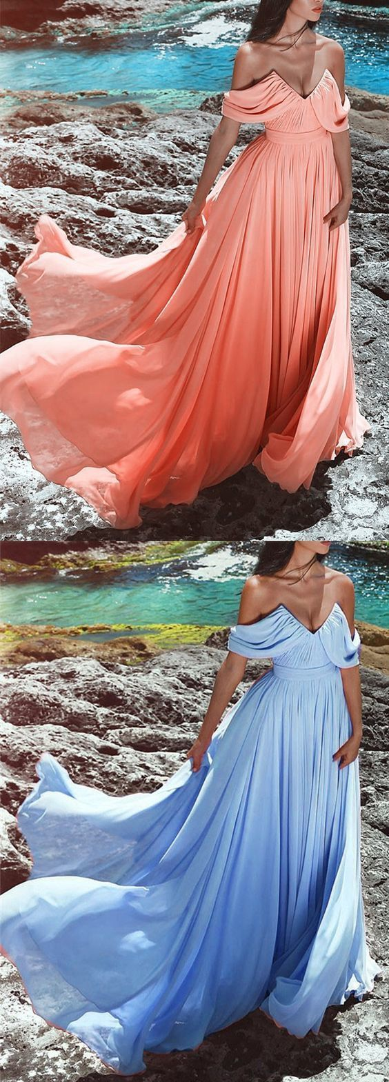 long chiffon prom dresses off the shoulder evening gowns