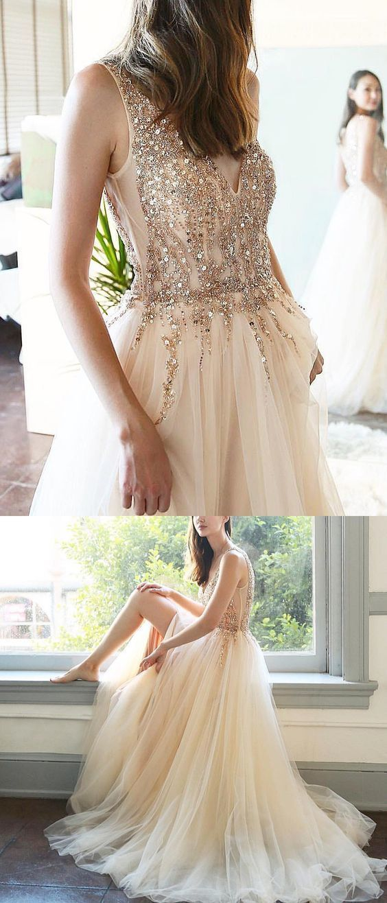 SPARKLY LONG PROM DRESSES BEADED V NECK CHARMING LONG EVENING DRESS FORMAL GOWNS
