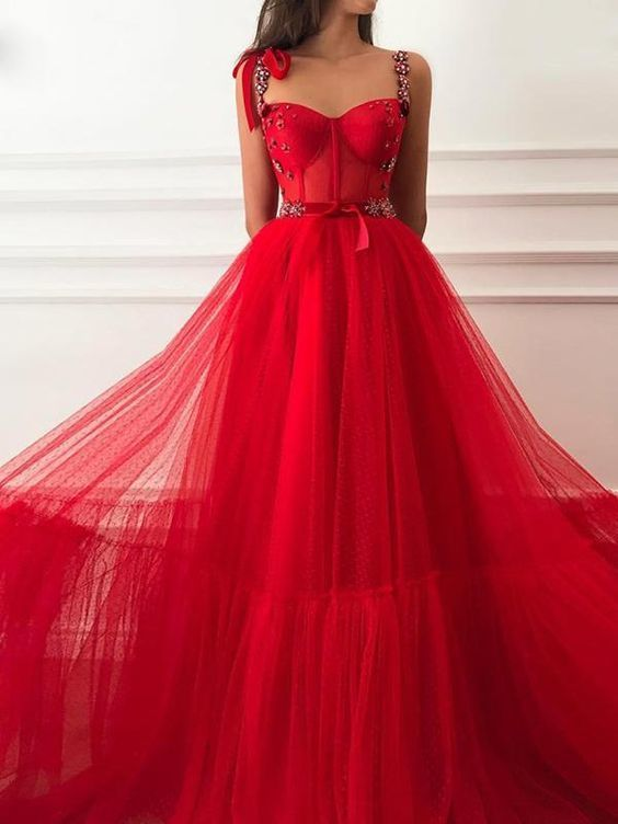Vintage Red Prom Dress Tulle Cheap Long A Line Prom Dress