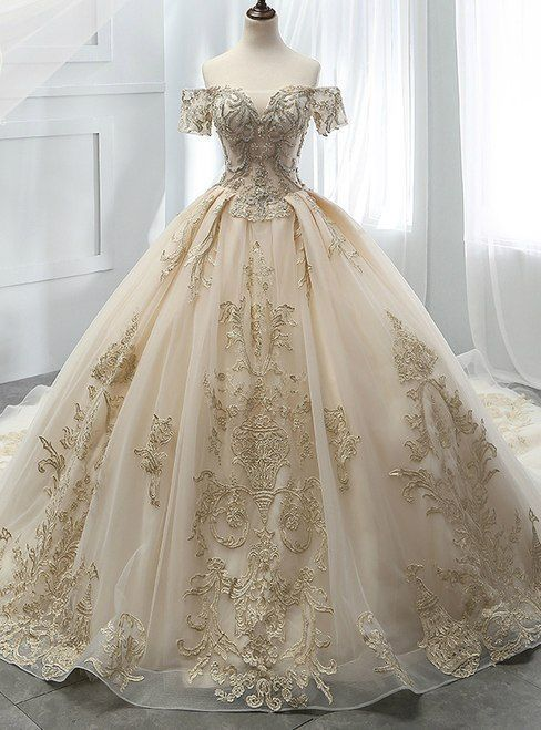 Champagne Ball Gown Tulle Off The Shoulder Appliques Wedding Dress