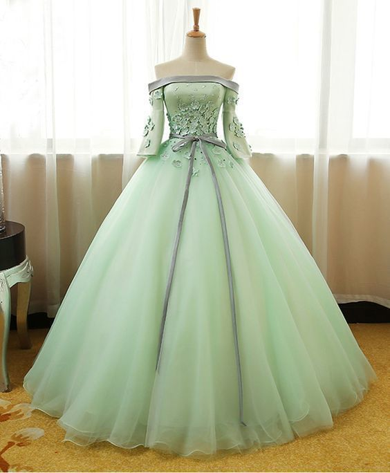 Mint tulle off shoulder mid sleeves long evening dress with silver gray sash