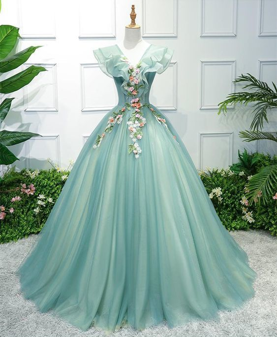 Outlet Fetching Long Prom Dresses, Green V Neck Tulle Long Prom Dress, Green