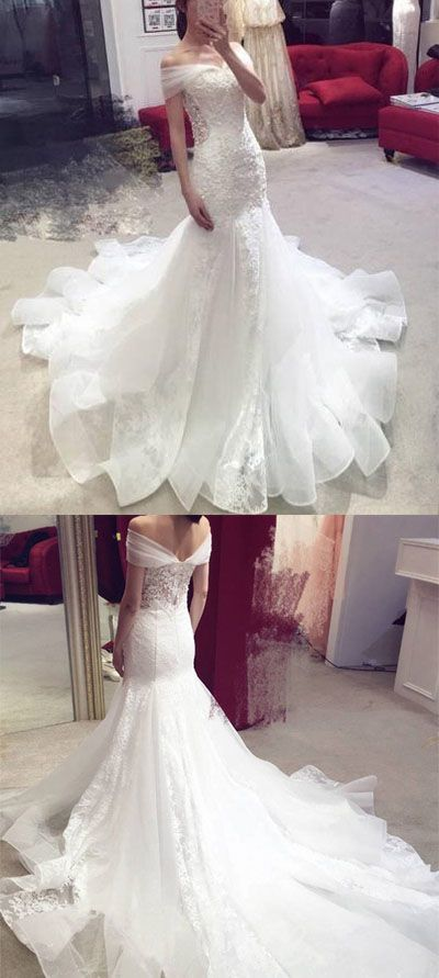 Charming Tulle Appliques White Mermaid Wedding Dress, Elegant Wedding Dresses