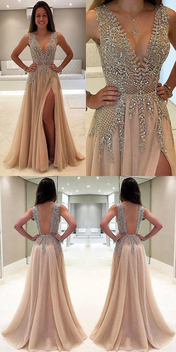 Champagne Deep V neck Tulle Prom Dress, Sexy Open Back Split Slit Evening Party