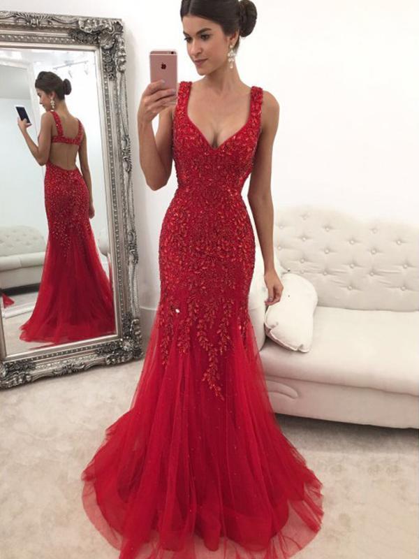b3bcdb7dc9 Gorgeous Red Rhinestone Long Mermaid Prom Dresses Evening Gown