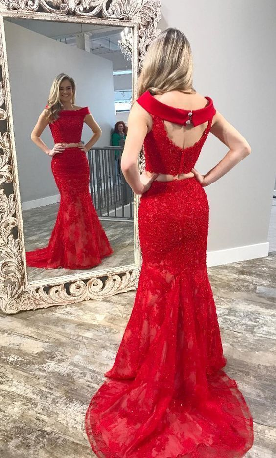 Sexy Red Appliques Lace Evening Party Dress, Tulle Long Prom Dresses