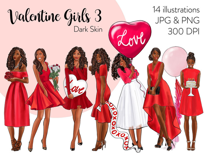 Watercolor fashion illustration clipart -  Valentine Girls 3 - Dark Skin