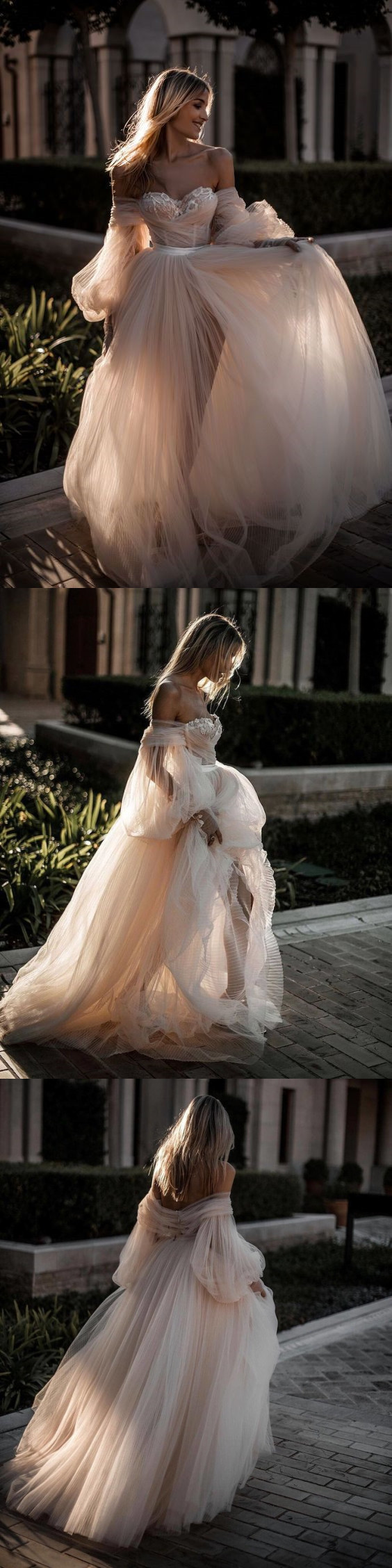Champagne Off the Shoulder Tulle Wedding Dresses,Long Sleeves Bridal Dress,Lace