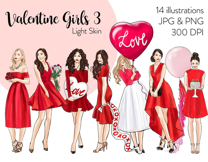 Watercolor fashion illustration clipart - Valentine Girls 3 - Light Skin