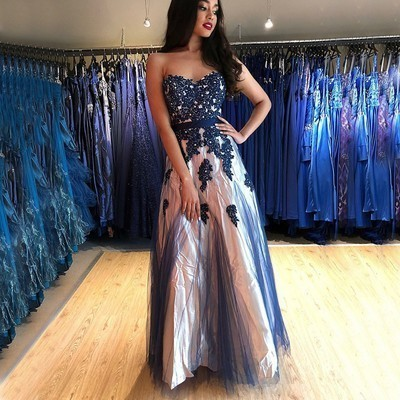 84e6ffb0e227 Gorgeous Strapless Navy Blue Long Party Dress by prom dresses on