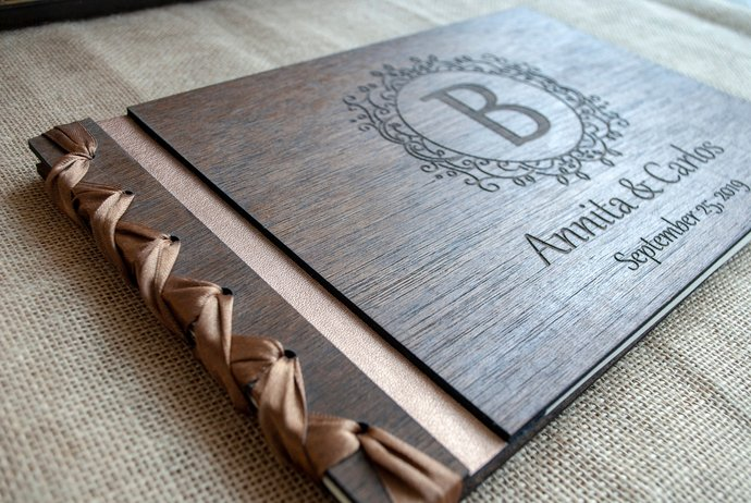wooden photo album / wood guest book / rustic wedding guest book / wedding photo