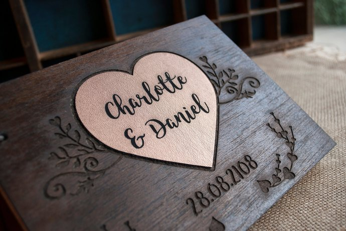 rustic wedding guest book/ wood guest book / personalized guest book / wooden
