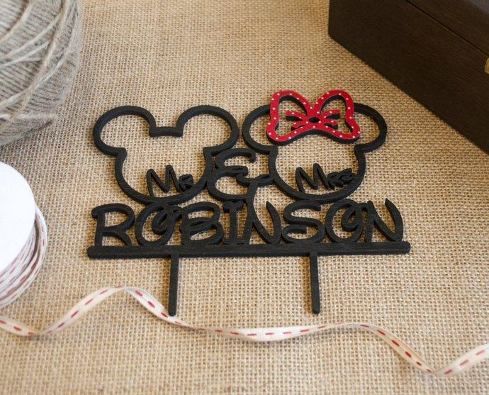 Mickey and Minnie Cake Topper / Disney Cake Topper / Disney Themed Wedding /
