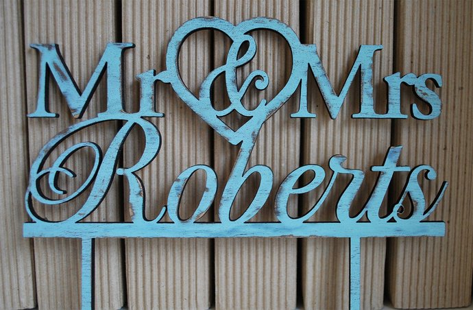 Rustic Wedding cake topper | rustic wood cake topper | Turquoise cake topper |