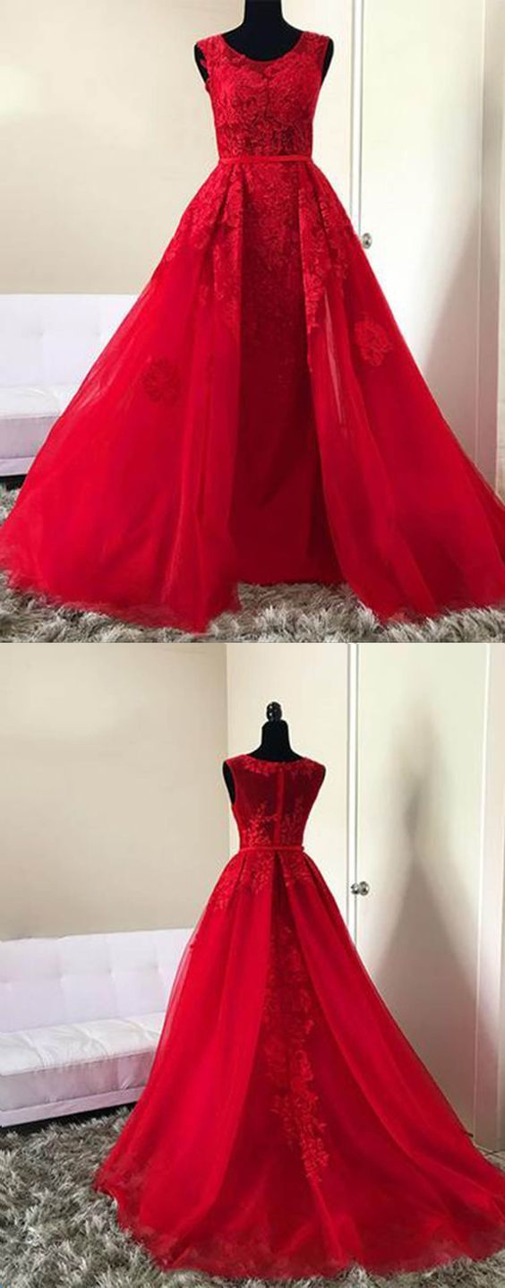 Elegant Red Appliques Evening Dress, Tulle Formal Long Prom Dress