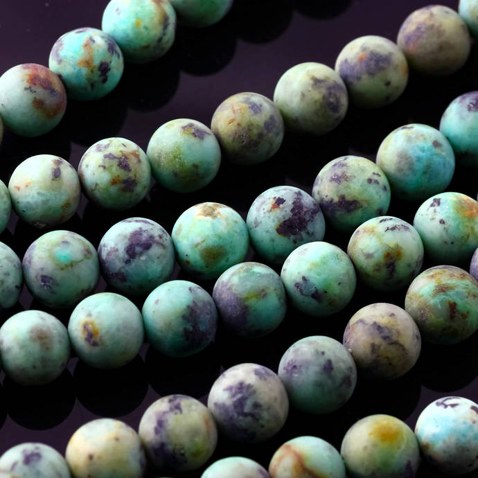 African Turquoise Beads, Matte Finish, Round, 7-8mm, FULL STRAND, A Grade