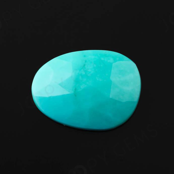 Turquoise Rose Cut Freeform, 4.73 carats, 15.6x11.5x3.6mm, PFRTUQ111