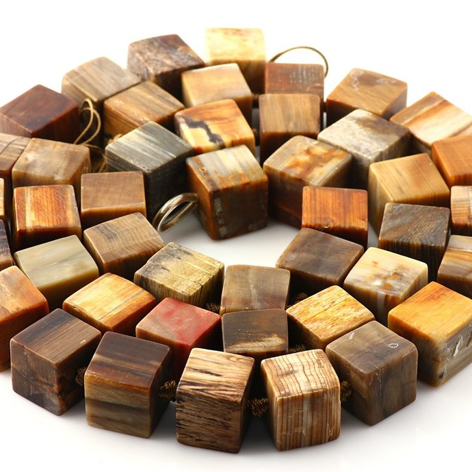 Fossilized Wood Beads, 15-16mm, matt finish FULL STRAND