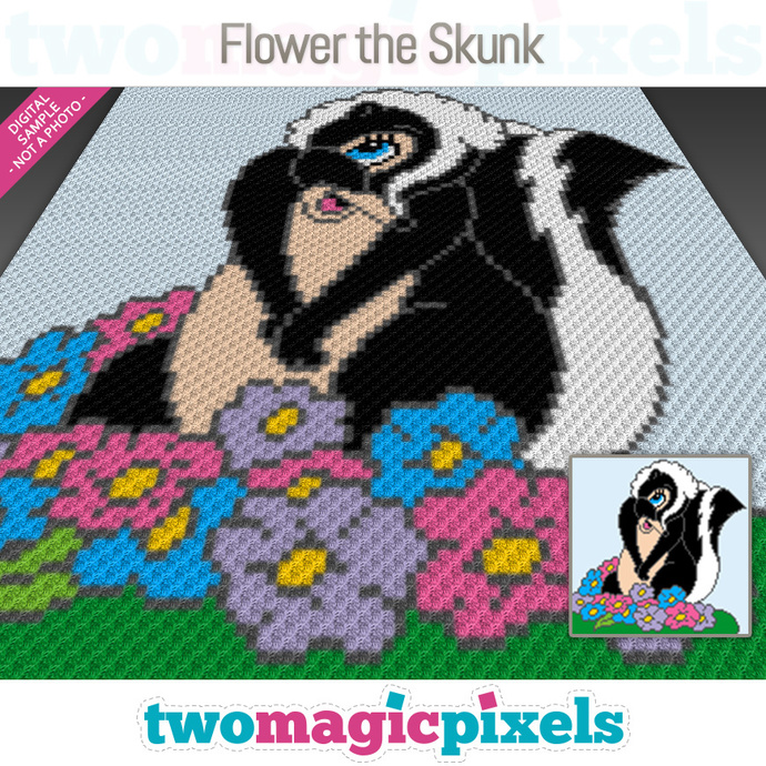 Flower the Skunk crochet graph (C2C, Mini C2C, SC, HDC, DC, TSS), cross stitch;