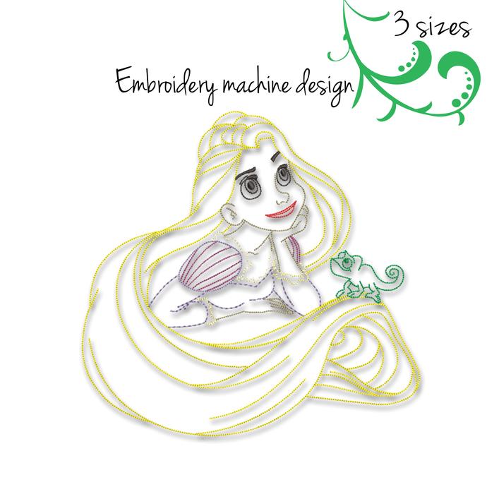 Rapunzel embroidery machine design Princess outline Disney designs instant