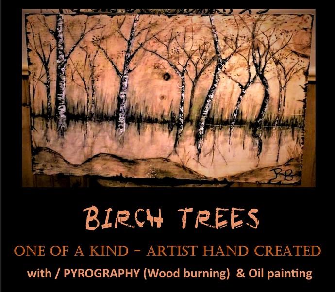 Rustic art, Birch Tree Art,nature art, cabin decor, tree of life art, wood art,