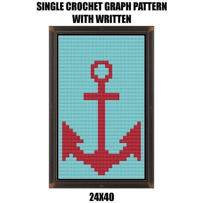 Anchor Hand Towel Crochet Graph Pattern 126x140