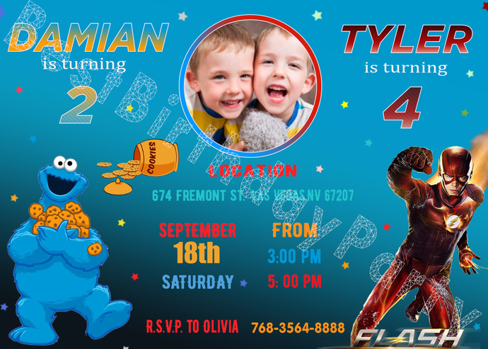 Cookie Monster and Flash birthday invitations Siblings boys invitations Double