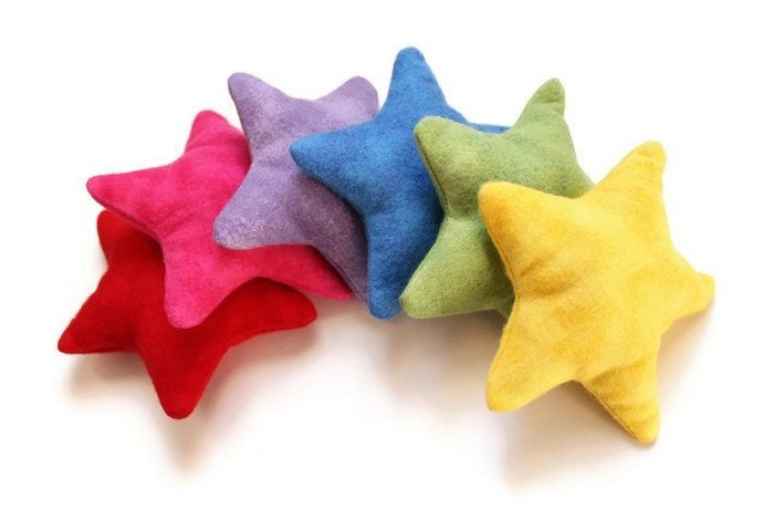 Rainbow Star-shaped Bean Bags (set of 6) Handmade from Red, Pink, Lavender,