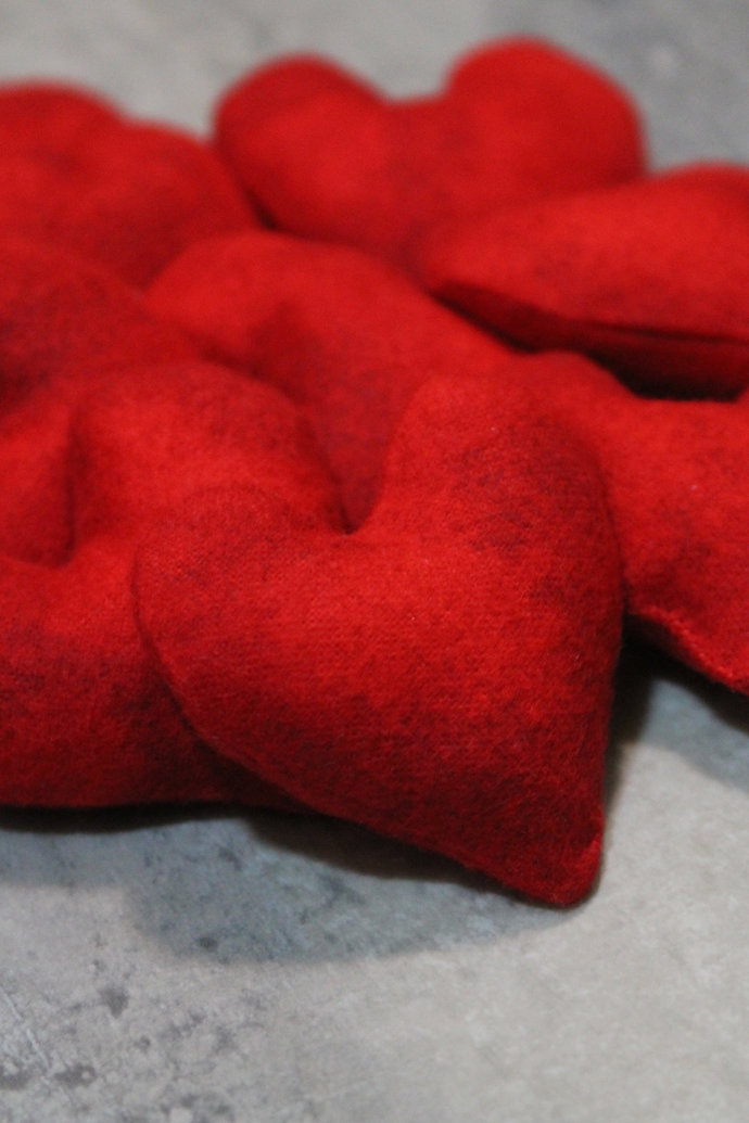 Mini Crimson Red Heart Shaped Bean Bags (set of 12) Valentine's Party Favors