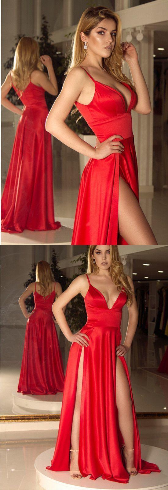 Long Satin V-neck Prom Dresses Double Split Party Gowns