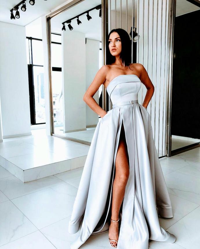 Sexy Slit A Line Prom Dresses Satin Evening Dress Silver Long Prom Dress Formal