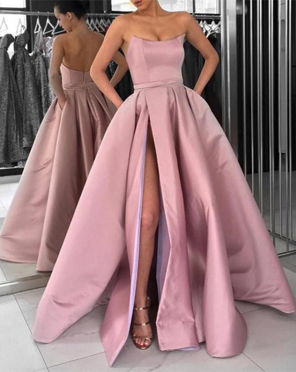 f6bdcefa635 Simple Prom Dresses A Line Strapless Burgundy Slit Prom Dress Sexy Evening  Dress