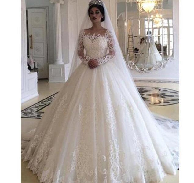 Plus Size Wedding Dresses Robe De Mariee Long Sleeve Ball Gown Gorgeous  Bridal Gowns 2019 Sweep Train Country Wedding Dress