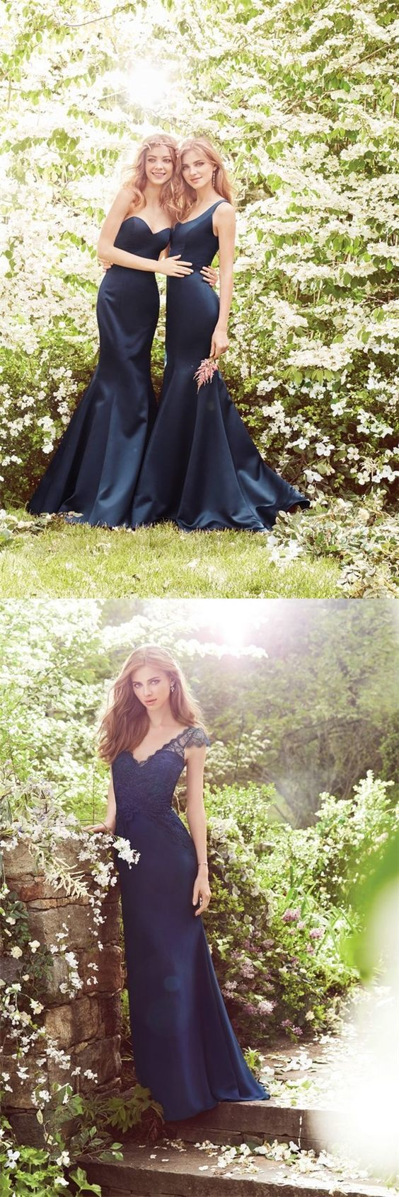 special-occasion prom dress, fashion bridesmaid dress, navy blue bridesmaid
