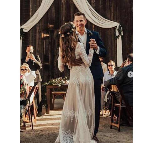 9be0de50c3 White Appliques Lace A Line Boho Wedding Dresses With Long Sleeves 2019  Backless