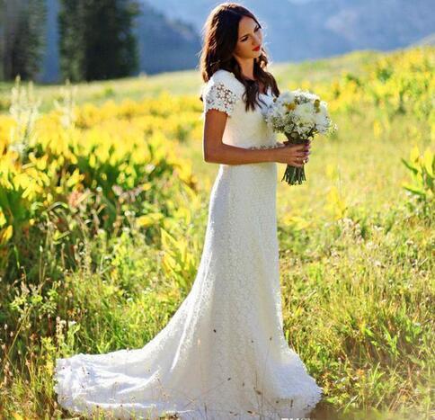 Cap Sleeve Crochet Lace Bohemian Country Wedding Dresses 2019 A Line cheap