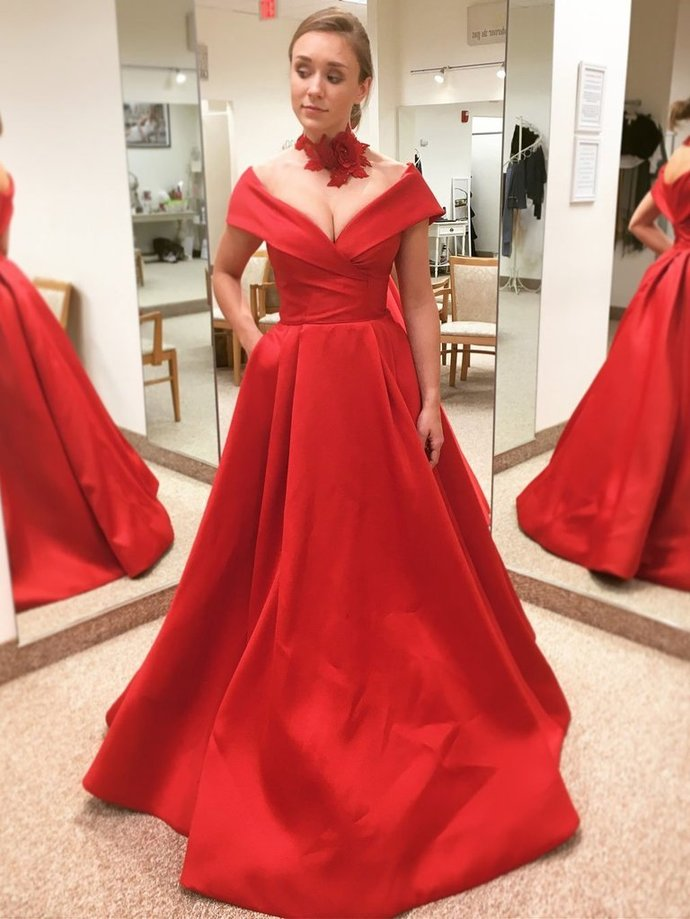 1f5ba406 PROM DRESS A-LINE RED OFF-THE-SHOULDER SIMPLE SATIN LONG PROM DRESSES