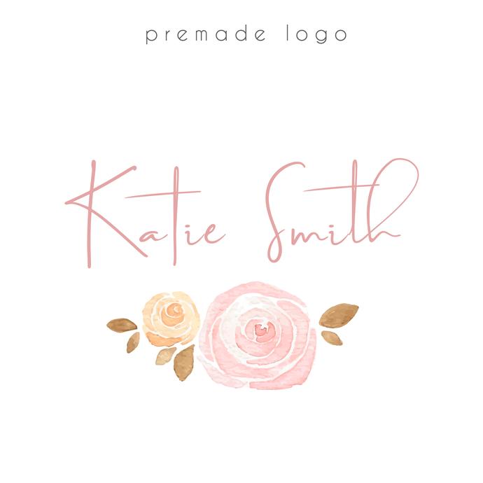 Premade logo, Watercolor Logo, Rose Logo Design, Personalized logo, Business