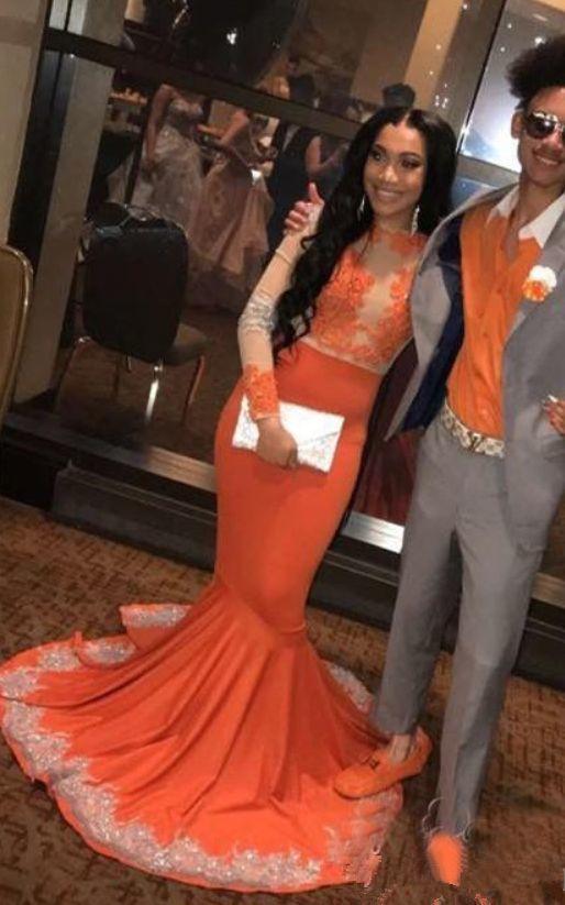 6071690c4fd Gorgeous Sheer Neck Long Sleeves Prom Dresses