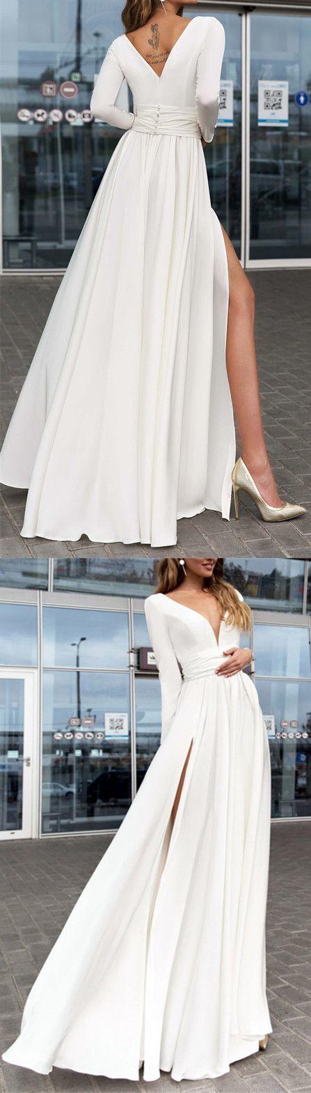 Elegant Plunge V-neck Long Sleeves Chiffon Wedding Dresses Leg Split
