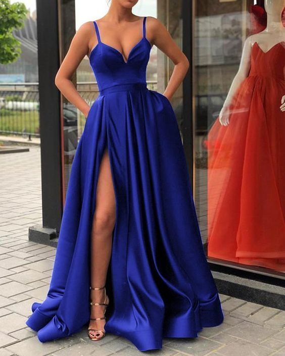 56c2d01c673e Spaghetti Straps Black Prom Gown Long Evening Party Gown with Slit G2360