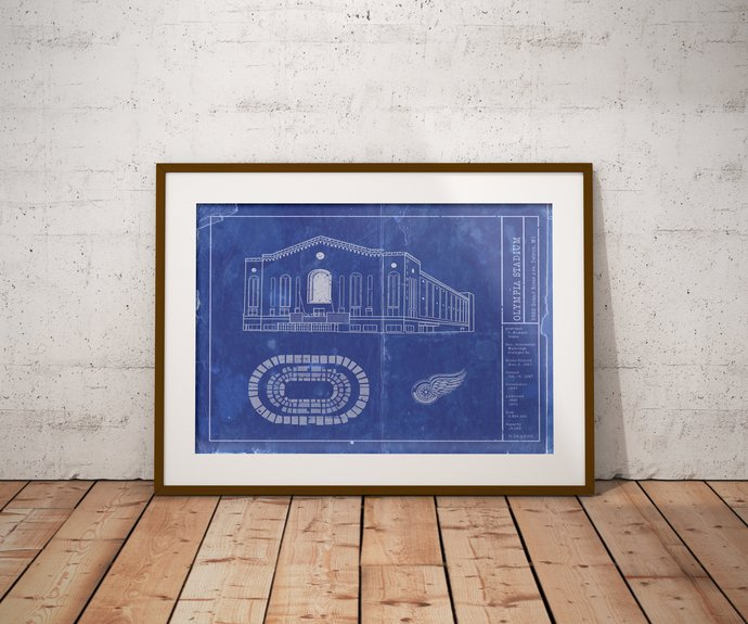 Detroit Red Wings Olympia Stadium blueprint art, 5x7 to 24x36 with free