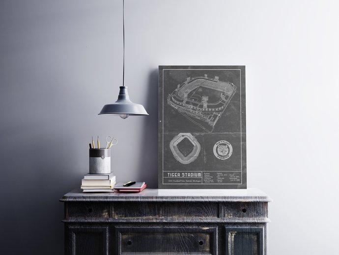 Detroit Tiger Stadium vintage style blueprint art print. 5x7 to 24x36 with free