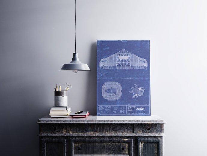 SAP Center blueprint Art Print San Jose Sharks. 5x7 8x10 poster with Free