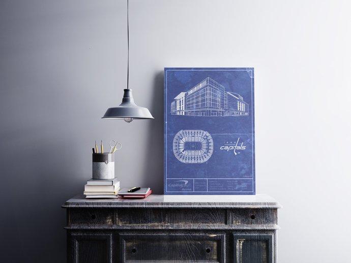 Washington Capitals Capital One Arena blueprint art print. 5x7 to 24x36 with