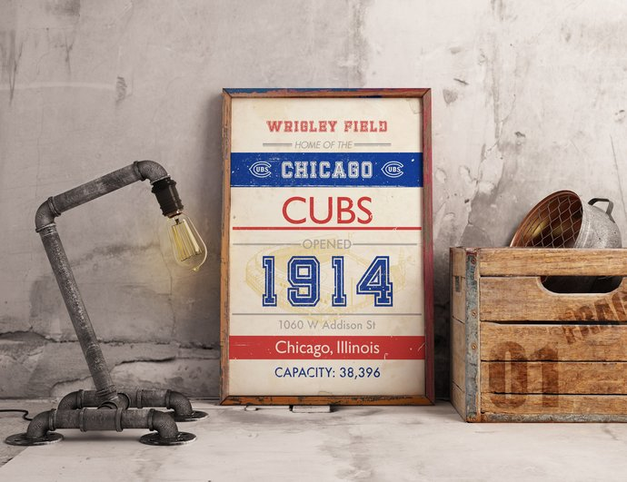 Chicago Cubs Wrigley Field subway style art print. 5x7 to 24x36 with free
