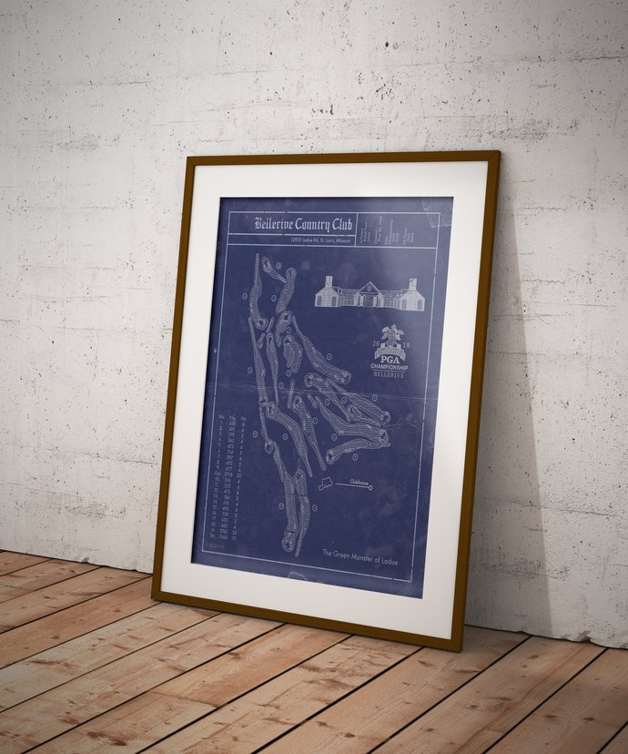Bellerive Country Club golf course blueprint art print. 5x7 to 24x36 with free